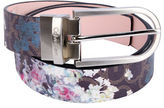 Calvin Klein Reversible Logo Printed Floral Leather Belt
