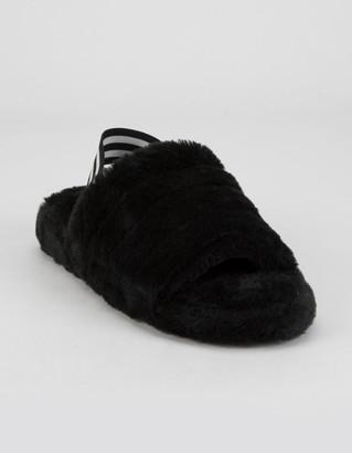 Wild Diva Faux Fur Sling Womens Black Slippers