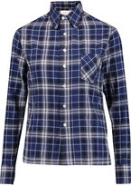 R 13 Pin-embellished checked cotton-blend shirt
