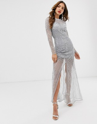 Frock and Frill long sleeve high embellished maxi dress