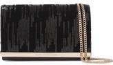 Diane von Furstenberg Soirée Embellished Velvet And Leather Shoulder Bag