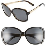 Kate Spade Women's 'Darilynn' 58Mm Polarized Sunglasses - Black Tortoise/ Grey Polar