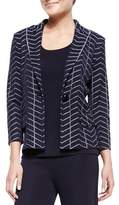 Misook Spider Web One-Button Jacket, Plus Size