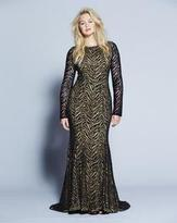 Forever Unique Evelyn Animal Lace Overlay Fishtail Dress