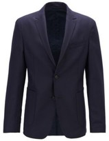 HUGO BOSS - Reversible Slim Fit Jacket With Buttoned Cuffs - Open Blue