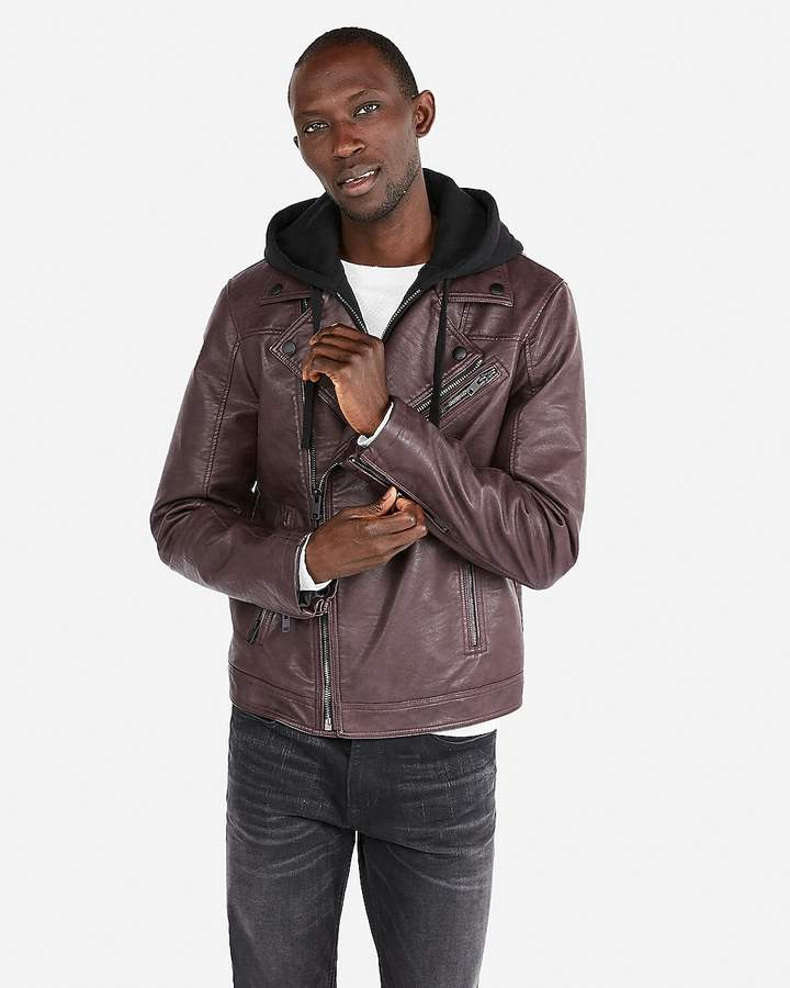Express Minus The) Leather Pebbled Hooded Asymmetrical Moto Jacket