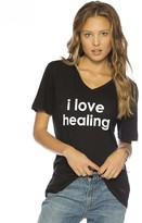 Peace Love World I Love Healing V-Neck Tee