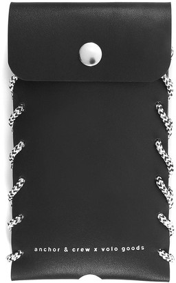 Anchor & Crew Graphite Black Standen Leather & Rope Phone Case