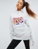 Reebok Classics Half Zip Oversized Sweatshirt With Flag Logo