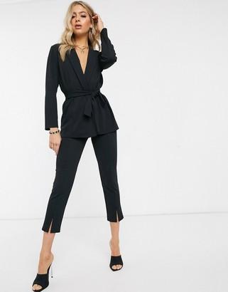 ASOS DESIGN jersey slim split front suit trousers
