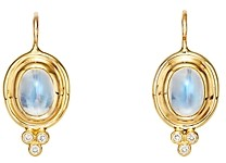 Temple St. Clair 18K Yellow Gold Small Classic Oval Earrings with Blue Moonstone & Diamonds