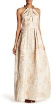 Carmen Marc Valvo Embellished Halter Sleeveless Gown