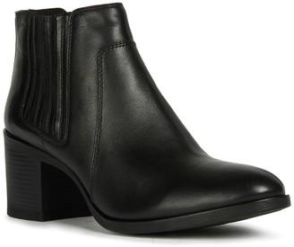 Geox Leather Block Heel Bootie