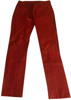 Chrome Hearts Red Leather Trousers for Women Vintage