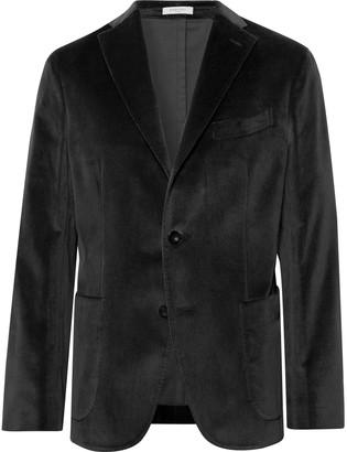 Boglioli Charcoal K-Jacket Slim-Fit Unstructured Stretch-Cotton Velvet Blazer