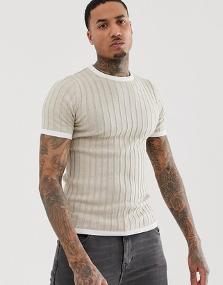 Asos Design DESIGN knitted muscle fit rib t-shirt in oatmeal-Beige