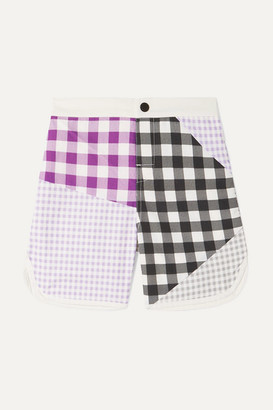 Marysia Kids Bumby Hampton Patchwork Gingham Swim Shorts