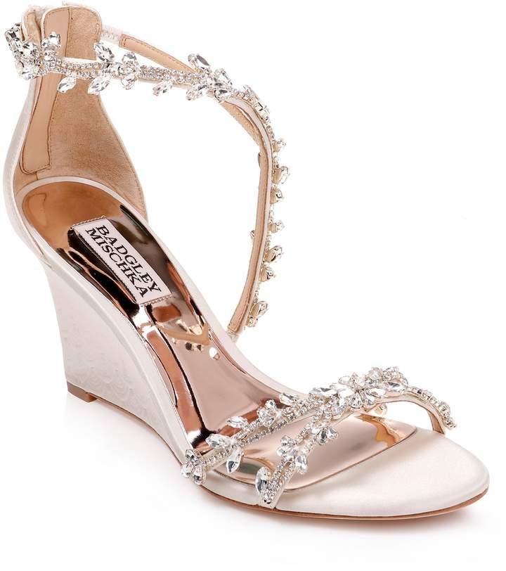 Badgley Mischka Collection Feather Crystal Embellished Wedge Sandal