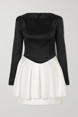 Rasario Two-tone Embellished Duchesse-satin Mini Dress - Black