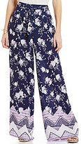 Takara Floral-Print Chevron Border Print Wide-Leg Pants