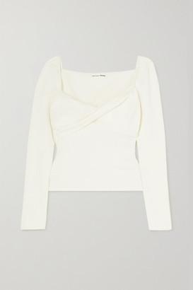 Reformation + Net Sustain Salida Twist-front Stretch Organic Cotton-jersey Top - Ivory