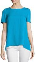 Diane von Furstenberg Maggy Short-Sleeve Silk Button-Back Top, Capri Blue