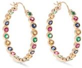 Alison Lou Emerald, ruby, sapphire & gold Twister earrings