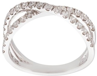 Marchesa 18kt white gold diamond cross-over double band