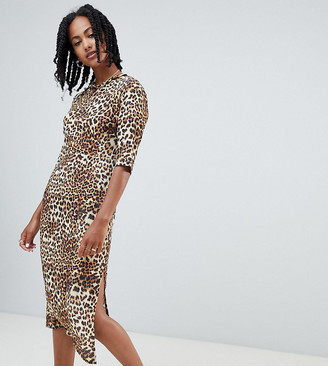 Reclaimed Vintage inspired open back midi dress in leopard print