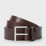 Paul Smith Men's Brown Leather Suit Belt With Contrasting Sky Blue Lining