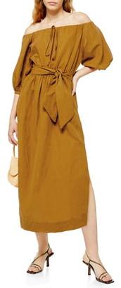 Topshop Off the Shoulder Linen Blend Midi Dress