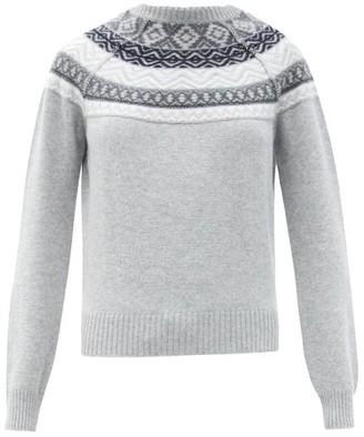 Johnstons of Elgin Lucia Fair Isle-jacquard Cashmere Sweater - Silver Multi