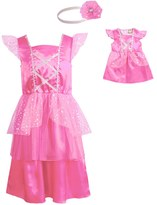 Dollie & Me Girls Flutter Sleeve Satin Princess Dress