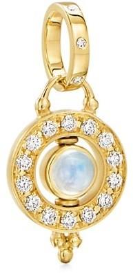 Temple St. Clair Celestial 18K Yellow Gold Moonstone & Diamond Mini Orbit Pendant