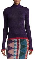 Missoni Fine Ribbed Lame Turtleneck Sweater