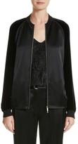 Lafayette 148 New York Women's Brea Reverie Satin Cloth Bomber Jacket
