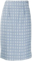 Jean Louis Scherrer Pre Owned 1990's check fitted skirt