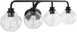 Jonathan Y Designs Sandrine 36In 4-Light Iron/Seeded Glass Cottage Rustic Led Vanity Light