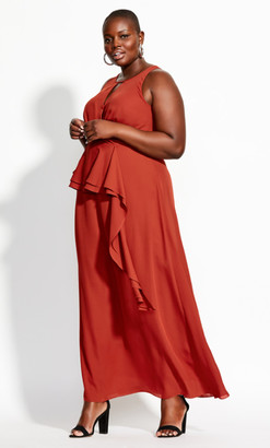 City Chic Cascade Skirt Maxi Dress - rust