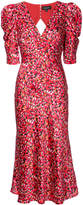 Saloni printed puff sleeves midi dress