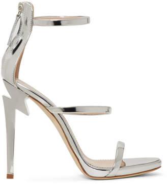 Giuseppe Zanotti Silver Three-Strap G-Heel Sandals