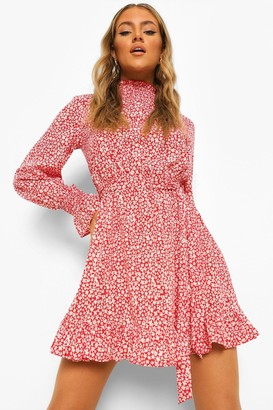 boohoo Floral Shirred High Neck Belted Skater Dress