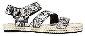 Vince Women's Elian Snakeskin-Embossed Leather Espadrille Sport Sandals