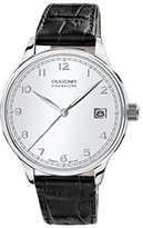 Dugena Men's Premium Quartz Watch with Silver Dial Analogue Display and Black Leather Strap