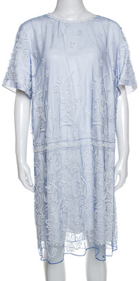 Burberry Hydrangea Blue Embroidered Tulle Short Dress L