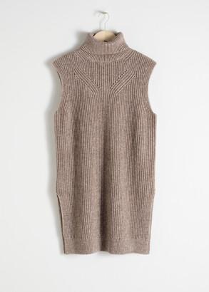 And other stories Cotton Blend Knit Turtleneck Vest