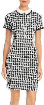 Karl Lagerfeld Paris Houndstooth Knit Necklace Dress