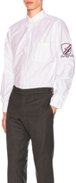 Thom Browne Oxford Button Down with Embroidery Patch Arm Band in White.