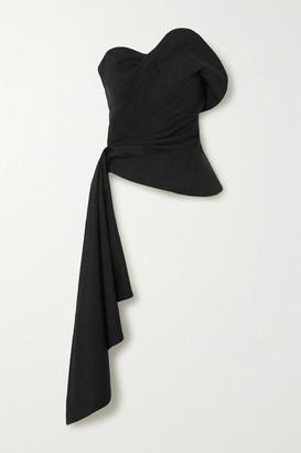 Oscar de la Renta Draped Wool-blend Twill Bustier Top - Black