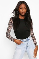 boohoo Animal Print Mesh Sleeves With Contrast Body